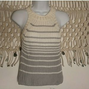 LF Rumor gray white stripe knit sleeveless sweater